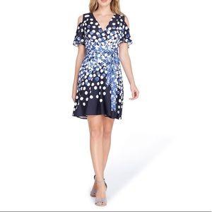 NWT Tahari ASL Polka Dot Cold Shoulder Wrap Dress